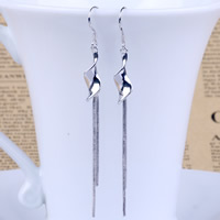 Fashion Fringe Earrings, Brass, platinum color plated, for woman, nickel, lead & cadmium free, 8x80mm, Sold By Pair