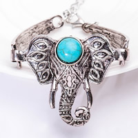 Zinc Alloy Bracelet with Turquoise with 5cm extender chain Elephant antique silver color plated for woman lead   cadmium free 38x49mm Sold Per Approx 6.5 Inch Strand