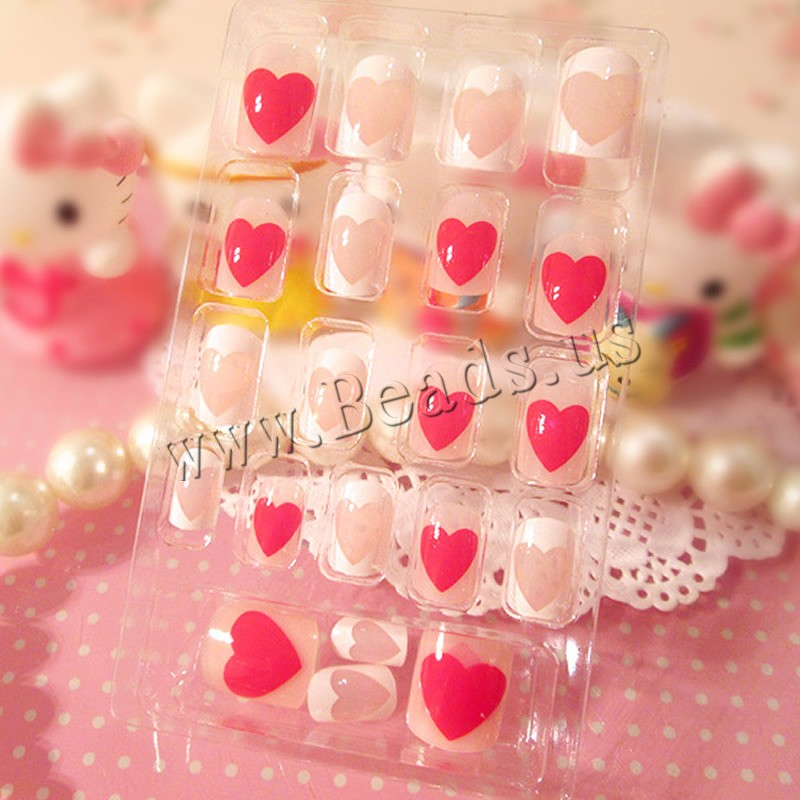 Nail Decal, PC Plastic, with Nail Glue, Heart, 7-18mm, 3Sets/Lot, 24PCs/Set, Sold By Lot