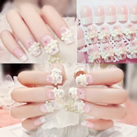 Nail Decal, PC Plastic, with Nail Glue & ABS Plastic Pearl & Resin, for bridal & different styles for choice & with rhinestone, 7-18mm, 25Sets/Lot, 24PCs/Set, Sold By Lot