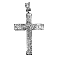Rhinestone Pendant, Stainless Steel, Cross, with rhinestone & hollow, original color, 42x66x6mm, Hole:Approx 6x10mm, 2PCs/Lot, Sold By Lot