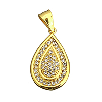 Rhinestone Pendant, Stainless Steel, Teardrop, gold color plated, with rhinestone, 18x31x5mm, Hole:Approx 5x8mm, 5PCs/Lot, Sold By Lot