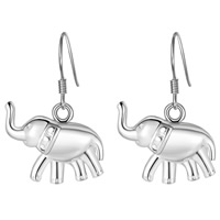 Brass Drop Earring, Elephant, silver color plated, for woman, nickel, lead & cadmium free, 18x28mm, Sold By Pair