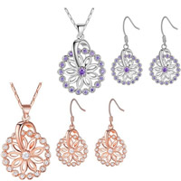 Cubic Zirconia Micro Pave Brass Jewelry Sets, earring & necklace, with 1.9lnch extender chain, Flower, plated, bar chain & micro pave cubic zirconia & for woman, more colors for choice, nickel, lead & cadmium free, 20x30mm,16x35mm, Length:Approx 17.7 Inch, Sold By Set