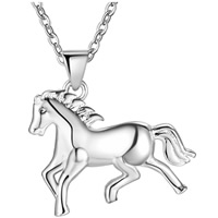 Brass Jewelry Pendants, Horse, silver color plated, for woman, nickel, lead & cadmium free, 24x24mm, Hole:Approx 3x5mm, Sold By PC