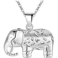 Hollow Brass Pendants, Elephant, silver color plated, for woman, nickel, lead & cadmium free, 21x22mm, Hole:Approx 3x5mm, Sold By PC