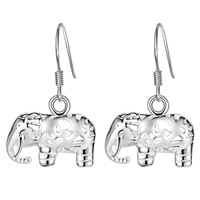 Brass Drop Earring, Elephant, silver color plated, for woman & hollow, nickel, lead & cadmium free, 15x27mm, Sold By Pair