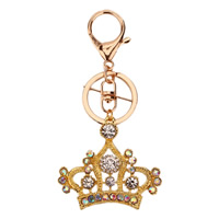 Key Chain Zinc Alloy with iron ring Crown gold color plated with rhinestone lead   cadmium free 58x52mm