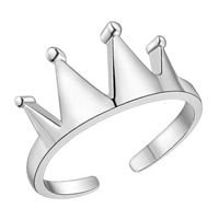 Brass Cuff Finger Ring, Crown, silver color plated, for woman, nickel, lead & cadmium free, US Ring Size:6-9, Sold By PC