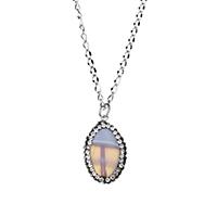 Ожерелье из агата, нержавеющая сталь, с клей & Агат, Плоская овальная форма, натуральный, твист овал & Женский, оригинальный цвет, 16x27x6mm, 2.5x4.5x1mm, длина:Приблизительно 18 дюймовый, 10пряди/Лот, продается Лот
