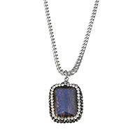 Ожерелье из агата, нержавеющая сталь, с клей & Агат, натуральный, Снаряженная цепь & Женский, оригинальный цвет, 20x28x8mm, 2.5mm, длина:Приблизительно 24 дюймовый, 10пряди/Лот, продается Лот