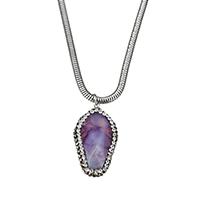 Ожерелье из агата, нержавеющая сталь, с клей & Агат, натуральный, змея цепи & Женский, оригинальный цвет, 19x35x16mm, 3mm, длина:Приблизительно 18 дюймовый, 10пряди/Лот, продается Лот