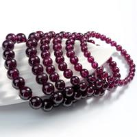 Природные Гранатовый браслет, Гранат, Круглая, натуральный, Январь камень & разный размер для выбора & Женский, длина:Приблизительно 6.5 дюймовый, 2пряди/сумка, продается сумка