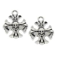 Zinc Alloy Cross Pendants, fleur-de-lis cross, antique silver color plated, lead & cadmium free, 15x19x4mm, Hole:Approx 2mm, 100PCs/Bag, Sold By Bag