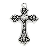 Zinc Alloy Cross Pendants, fleur-de-lis cross, antique silver color plated, lead & cadmium free, 28x46x5mm, Hole:Approx 3mm, 50PCs/Bag, Sold By Bag
