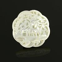 Кабошоны из ракушек, Белая ракушка, Форма цветка, натуральный, 40x40x4mm, 5ПК/Лот, продается Лот