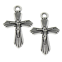 Zinc Alloy Cross Pendants, Crucifix Cross, antique silver color plated, Christian Jewelry, lead & cadmium free, 15x23x2.50mm, Hole:Approx 1.5mm, 100PCs/Bag, Sold By Bag
