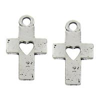 Zinc Alloy Cross Pendants, antique silver color plated, lead & cadmium free, 10x19x1mm, Hole:Approx 2mm, 100PCs/Bag, Sold By Bag