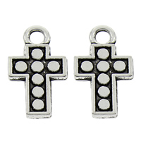 Zinc Alloy Cross Pendants, antique silver color plated, lead & cadmium free, 10x18x2mm, Hole:Approx 2mm, 100PCs/Bag, Sold By Bag