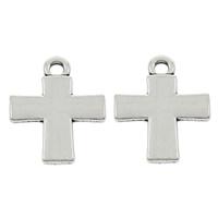 Zinc Alloy Cross Pendants, platinum color plated, lead & cadmium free, 15x18.50x2mm, Hole:Approx 1mm, 100PCs/Bag, Sold By Bag