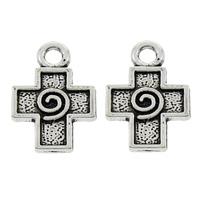 Zinc Alloy Cross Pendants, antique silver color plated, lead & cadmium free, 13x19x2mm, Hole:Approx 2mm, 100PCs/Bag, Sold By Bag