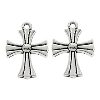 Zinc Alloy Cross Pendants, fleur-de-lis cross, antique silver color plated, lead & cadmium free, 16x23x3mm, Hole:Approx 1mm, 100PCs/Bag, Sold By Bag