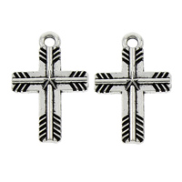 Zinc Alloy Cross Pendants, antique silver color plated, lead & cadmium free, 15x23x3mm, Hole:Approx 2mm, 100PCs/Bag, Sold By Bag