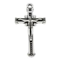 Zinc Alloy Cross Pendants, Crucifix Cross, antique silver color plated, Christian Jewelry & with letter pattern, lead & cadmium free, 19x36x4mm, Hole:Approx 1.5mm, 100PCs/Bag, Sold By Bag