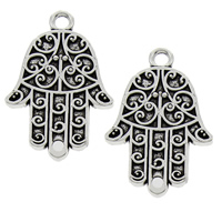 Hamsa Zinc Alloy Connector, antique silver color plated, 1/1 loop, lead & cadmium free, 24x37x3mm, Hole:Approx 2mm, 50PCs/Bag, Sold By Bag