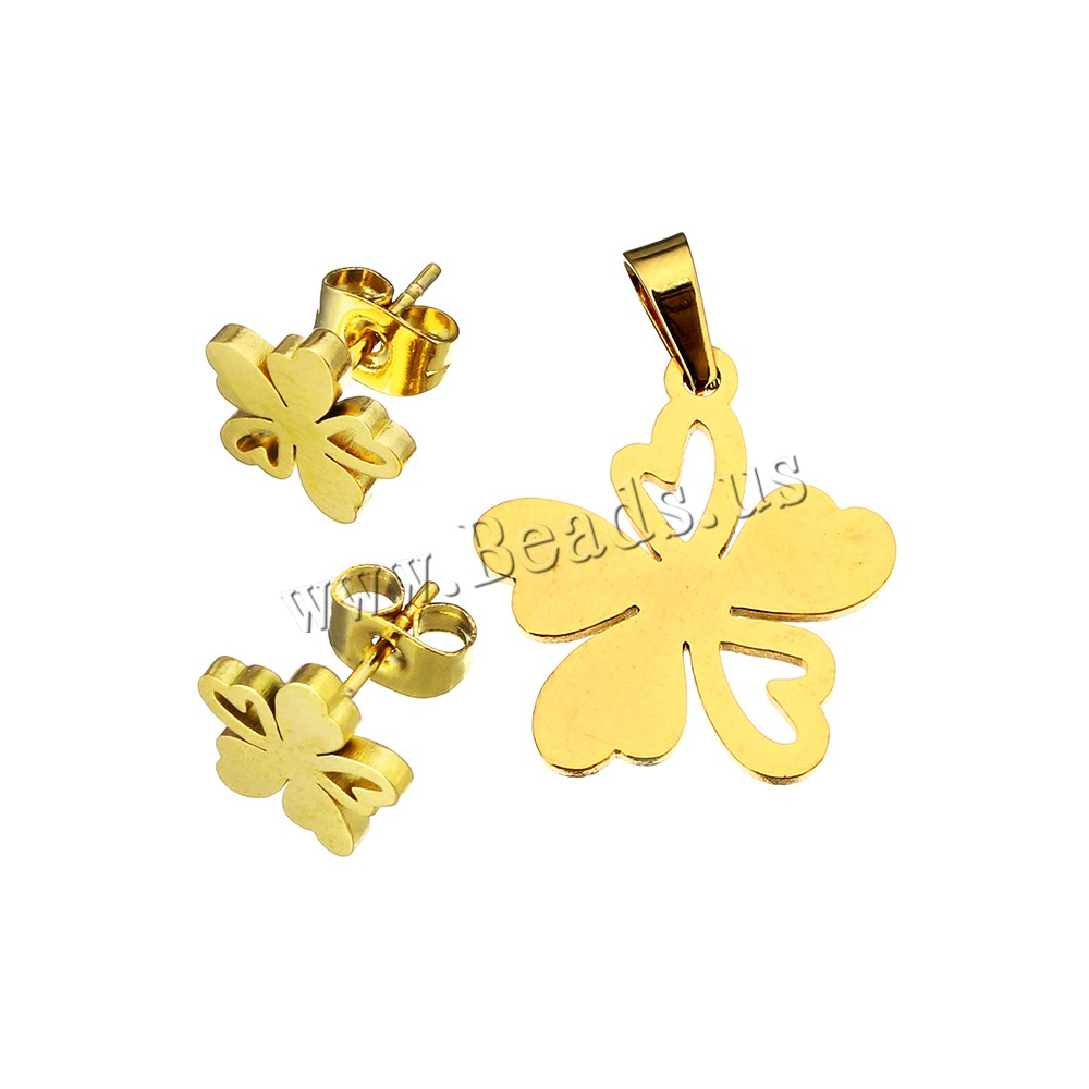Fashion Stainless Steel Jewelry Sets, pendant & earring, Flower, gold color plated, 18.5x20x1.5mm, 10.5x10x11.5mm, Hole:Approx 3x5mm, 10Sets/Lot, Sold By Lot