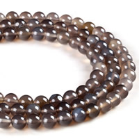 Natural Grey Agate Beads, Round, different size for choice, Hole:Approx 1mm, Sold Per Approx 15.5 Inch Strand