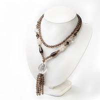 Дымчатый кварц Ожерелье, с Чистый кварц, натуральный, Народный стиль & Женский, 6mm, Продан через Приблизительно 20 дюймовый Strand