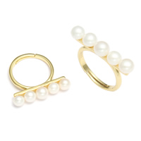 Freshwater Pearl Finger Ring with Brass with 4cm extender chain gold color plated natural 5x26x25mm US Ring Size:6.5