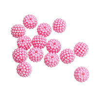 Plastic Beads, bright rosy red, 15mm, Hole:Approx 1.5mm, Approx 100PCs/Bag, Sold By Bag