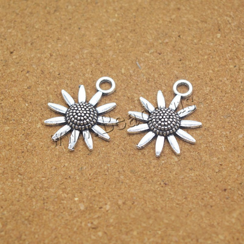 Buy Zinc Alloy Flower Pendants Sunflower antique silver color plated nickel lead & cadmium free 23x19x4mm Hole:Approx 1.5mm 5 Sold Lot
