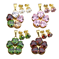 Fashion Stainless Steel Jewelry Sets, pendant & earring, Flower, gold color plated, for woman & with cubic zirconia, more colors for choice, 26.5x30x7.5mm, 9x8x17.5mm, Hole:Approx 4x9mm, 5Sets/Lot, Sold By Lot