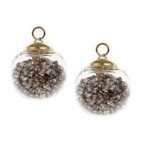Кулон стеклянный глобус, Стеклянный, с цинковый сплав под залог & Акрил, плакирован золотом, 16x20mm, отверстие:Приблизительно 2.5mm, продается PC
