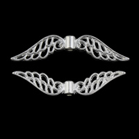 Zinklegering vleugel hangers, Zinc Alloy, Vleugelvorm, silver plated, lood en cadmium vrij, 32x8x3mm, Gat:Ca 1mm, Ca 4000pC's/KG, Verkocht door KG