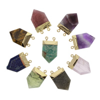 Gemstone Connector, with Zinc Alloy, gold color plated, natural & different materials for choice & 1/1 loop, 21x33x8mm, Hole:Approx 1.5mm, 2PCs/Bag, Sold By Bag