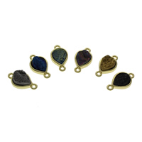 Quartz Connector, with Zinc Alloy, plated, druzy style & mixed & 1/1 loop, 21x12x5mm, Hole:Approx 1mm, 2PCs/Bag, Sold By Bag