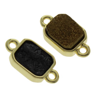 Quartz Connector, with Zinc Alloy, gold color plated, druzy style & mixed & 1/1 loop, 18x10x4mm, Hole:Approx 1mm, 2PCs/Bag, Sold By Bag