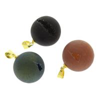 Подвески из кварца, Природный кварцевый, с цинковый сплав под залог, плакирован золотом, природный & разнообразный, 20x24mm, отверстие:Приблизительно 4x6mm, 2ПК/сумка, продается сумка