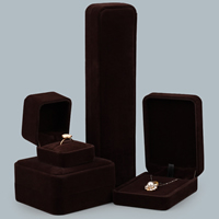 Velveteen Jewelry Set Box, with Glue Film, different styles for choice, deep coffee color, 10PCs/Lot, Sold By Lot