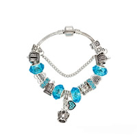 European Bracelet Zinc Alloy with brass chain   Crystal Crown antique silver color plated charm bracelet   different length for choice   snake chain   with letter pattern   for woman   enamel   faceted   with rhinestone nickel lead   cadmium free