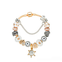 European Bracelet Zinc Alloy with brass chain   Crystal Crown plated charm bracelet   different length for choice   snake chain   with letter pattern   for woman   enamel   faceted   with rhinestone nickel lead   cadmium free