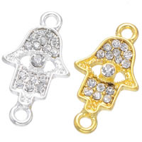 Hamsa Zinc Alloy Connector, plated, with rhinestone & 1/1 loop, more colors for choice, lead & cadmium free, 24x13mm, Hole:Approx 2mm, 500PCs/Bag, Sold By Bag