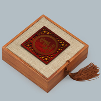 Wood Bracelet Box, with Linen & Nylon Cord, Square, 120x120x40mm, 10PCs/Lot, Sold By Lot
