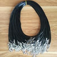 Шнуры для ожерелий, Вощеная хлопок шнур, цинковый сплав Замок-карабин, с 2lnch наполнитель цепи, Платиновое покрытие платиновым цвет, черный, 1.5mm, Продан через Приблизительно 18 дюймовый Strand