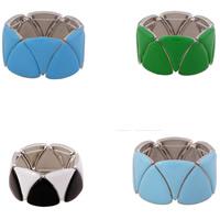 Акриловые браслеты, цинковый сплав, с Акрил, Платиновое покрытие платиновым цвет, Женский, Много цветов для выбора, не содержит свинец и кадмий, 30mm, длина:Приблизительно 7 дюймовый, 3пряди/сумка, продается сумка