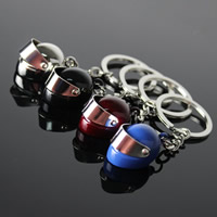 Key Chain, Zinc Alloy, with iron ring, Helmet, platinum color plated, more colors for choice, lead & cadmium free, 26x19x18mm, Hole:Approx 35mm, Sold By Strand